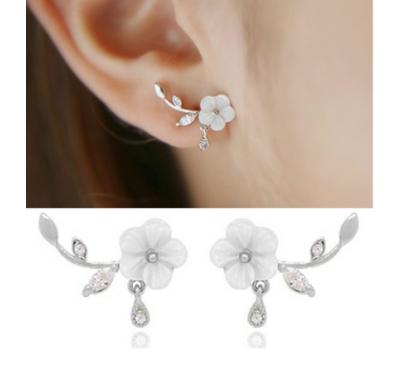 Women Fashion Crystal Shell Flower Stud Earrings