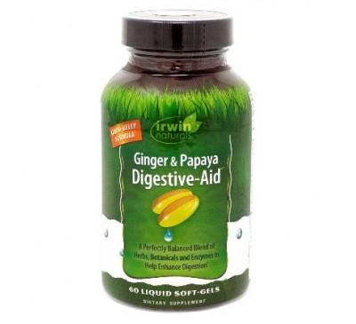 Irwin Natural Ginger – Papaya – Gừng và Đu Đủ - Tăng Cường Đề Kháng & Hỗ Trợ  Chữa Lành Cho Phổi - Made in USA. 60 viên dạng nước (Liquid Soft-Gel)