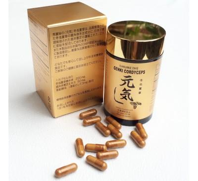 Genki Cordyceps - Đông Trùng Hạ Thảo Genki Kết Hợp Nấm Linh Chi - 60 Capsules - Made in Japan