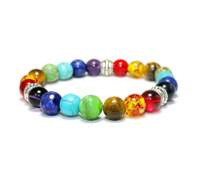 Seven Mixed Healing Balance Beads For Yoga Life Energy Natural Stone Bracelet