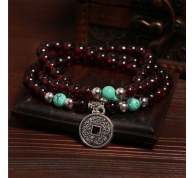 Buddhist Handmade Tibetan Purple Wood Prayer Beads Bracelet
