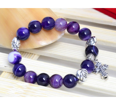 Natural Purple Agate Gemstone Rosary Beads Bracelet