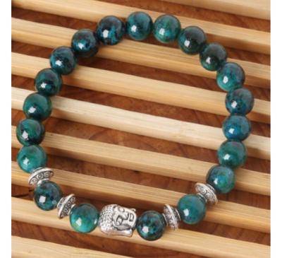 Buddhist Natural Stone Beads Energy Healing Stone Yoga Sliver Bracelet