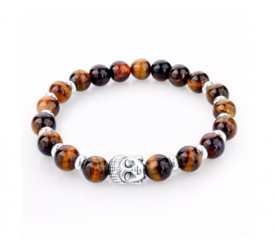 Buddhist Natural Color Stone Tibet Silver Beads Bracelet