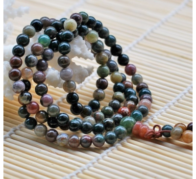 Buddhist 108 Prayer Meditation Natural Colorful Agate Stone Bracelet