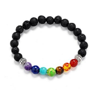Unisex Seven Healing Balance Beads For Yoga Life Energy Natural Stone Black Bracelet