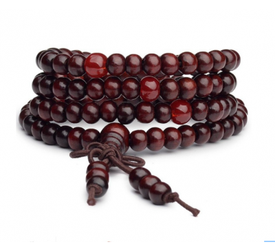 Buddhist 108 Prayer 6mm Beads Hand String Rosewood Bracelet