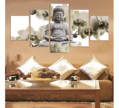 Five UnFramed Panel Background Buddha Painting Fengshui Canvas Art Wall Pictures Home Decoration