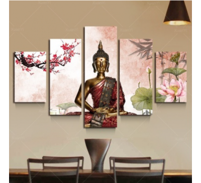 Five UnFramed Panel Lotus Buddha Painting Fengshui Canvas Art Wall Pictures Home Decoration