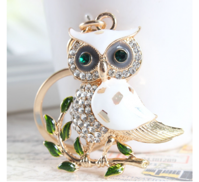 Owl Branch Charm Pendant White Rhinestone Crystal Purse Bag Key Chain