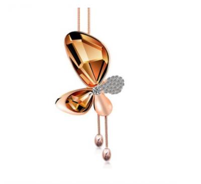 Ladies Fashion Charm Rose Gold Crystal Rhinestone Butterfly