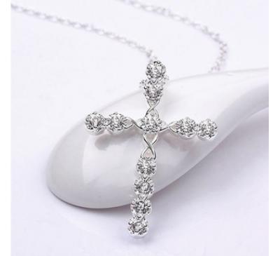 Women Jewelry Crystal Cross Zircon Pendant Necklace