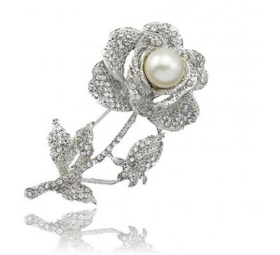 Jewelry Women's Rose Flower Faux Pearl Rhinestone Brooch Pin