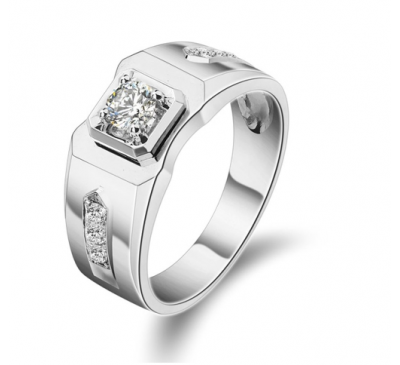 Men Fashion Jewelry Round Cut White Topaz Ring