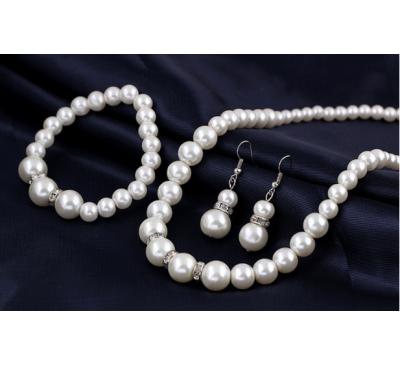 Women Necklace + Bracelet + Earrings Pearl Set