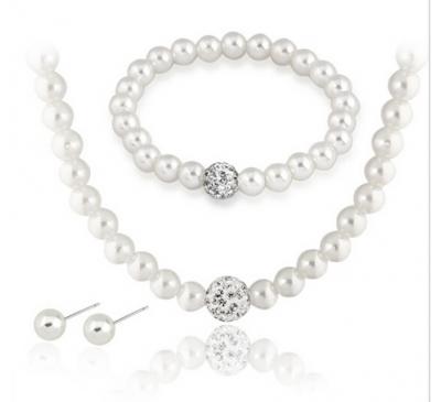 Women Jewelry Pearl Set Included Necklace & Bracelet & Earring