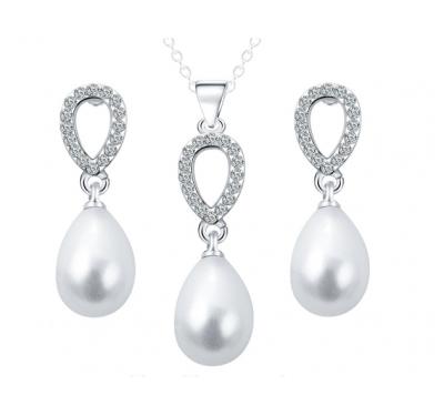 Elegant Princess WaterDrop Crystal Necklace & Earrings Pearl Jewelry Set