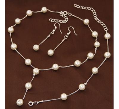 Pearl Jewelry Set Included Necklace + Bracelet +Earrings