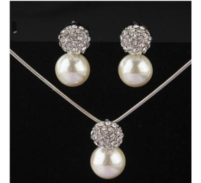 Silver Plated Rhinestone Round Pearl Jewelry Set