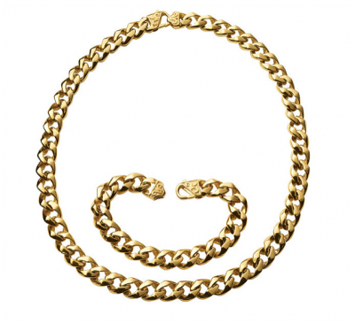 """Stainless Steel Goldtone Foxtail Chain Necklace - 24"""" and Bracelet 9"""" set"""