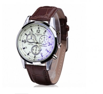 Men Luxury Fashion Faux Leather Watch